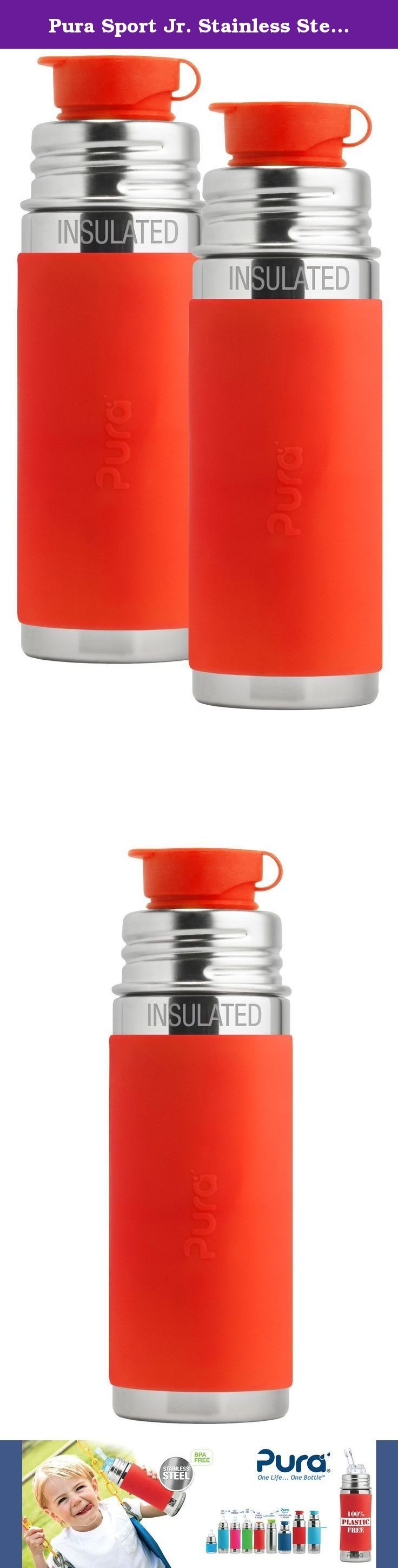 Pura Sport Jr. Stainless Steel Vacuum Insulated Bottle, 9 Ounce, Set of 2, Orange. Our development team took up the challenge of creating the first (and only) 100% plastic-free sport bottles in the world. Like all bottles in the Pura Sport collection, the Pura INSULATED Jr Sport Bottle features a double-wall vacuum insulated Food Grade Stainless Steel bottle (18/8), Medical Grade Silicone components, and zero plastic parts! Each bottle features our patented, medical grade silicone Big…