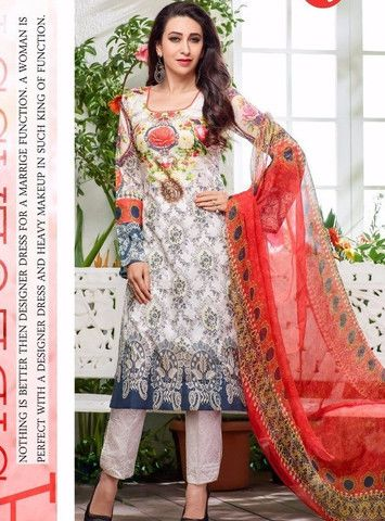 MF 64008 - White Color Glazed Cotton Designer Suit