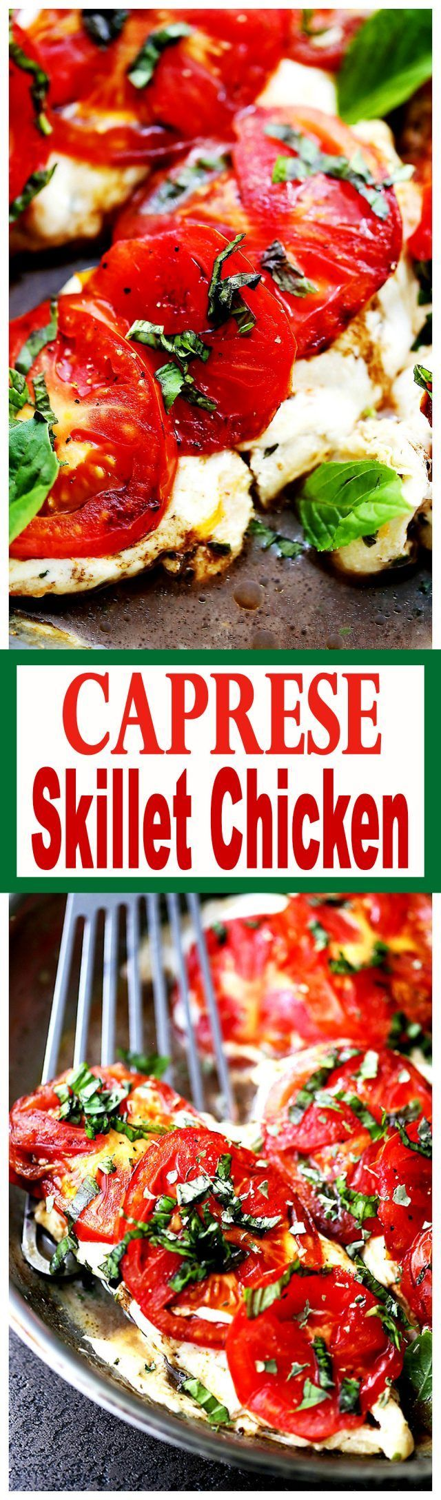Caprese Skillet Chicken Recipe - Pan-seared chicken topped with melting…