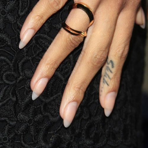 Rihanna rocking neutral/natural nails