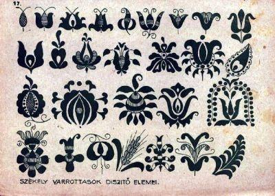 Székely varrottasok díszítő-elemei Stzékely tulips- ancient szimbols of the Sacred feminin.