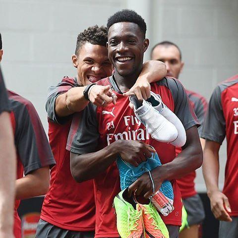 Kieran Gibbs and Danny Welbeck before today's Arsenal training session #Preseason  #COYG  #WeAreTheArsenal  🔴 #repost  @stuart_photoafc