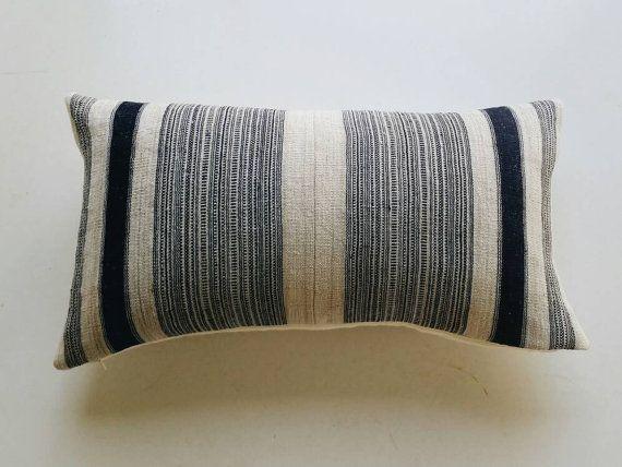 Navy Boho Pillow Cover Indigo Stripe Tribal by habitationBoheme