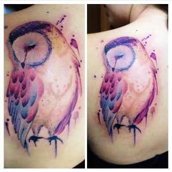 watercolor  shoulder - watercolor  bird - owl