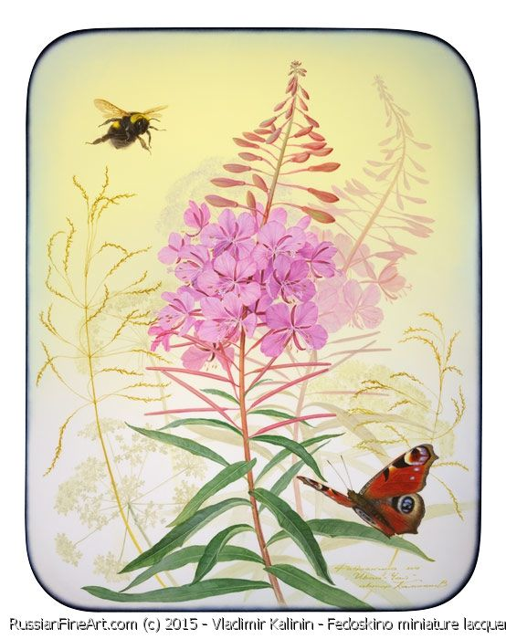 """""""Fireweed"""" Fedoskino miniature lacquer painting by Vladimir Kalinin"""