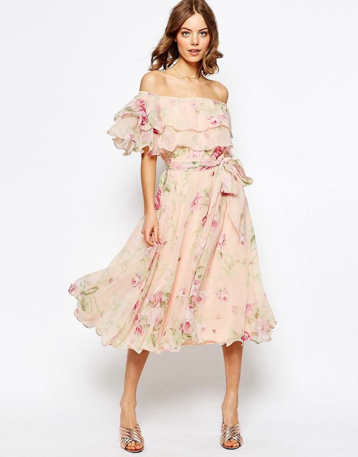 Image 1 of ASOS Floral Bardot Off The Shoulder Midi Prom Dress With Multi Ruffle #pastel