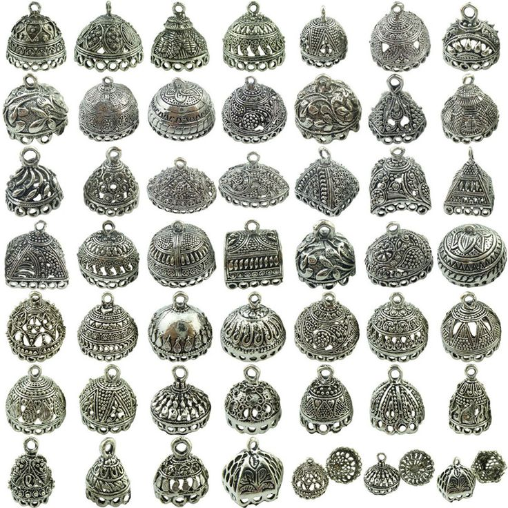 Free Shipping No.1-No.19 2pcs Retro Silver Filigree Pendant Tassel Cap End Jewelry Findings Crafts Making