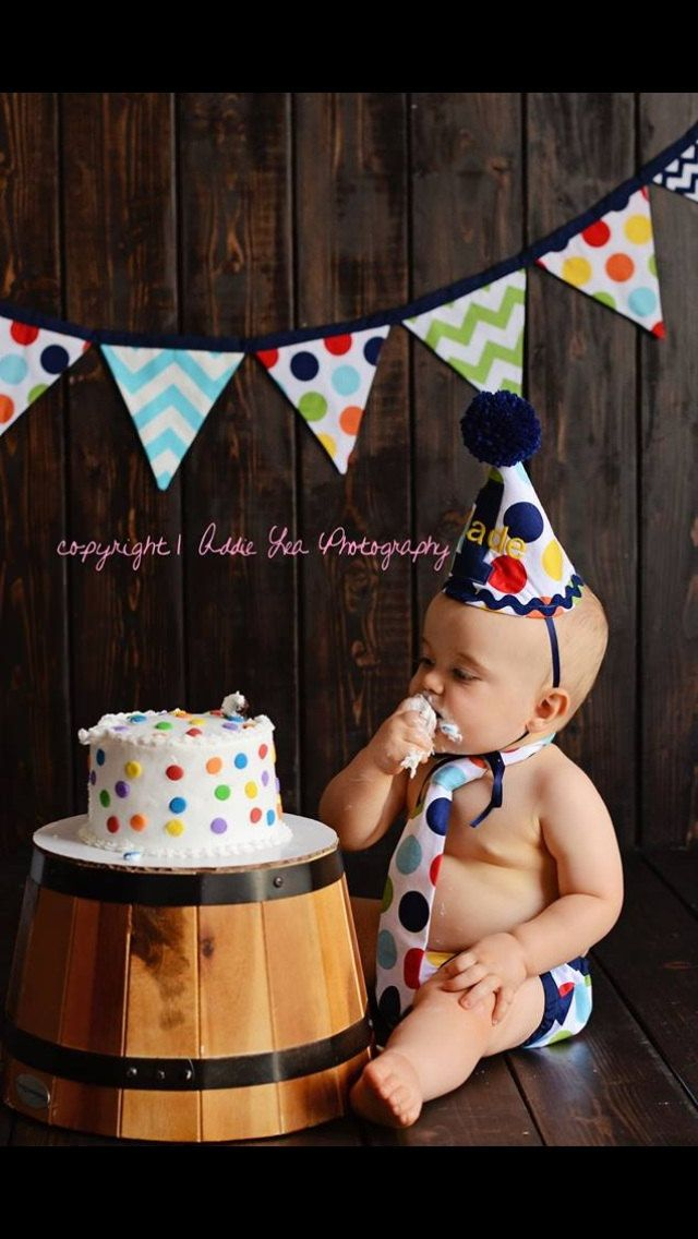 Personalized baby boy smash the cake outfit/ photo outfit/first birthday set in giant rainbow dots with navy trims by SMPstore on Etsy