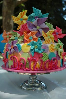 rainbow pin wheel decorated cake