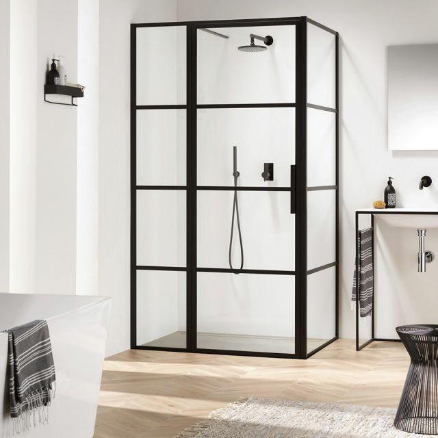 Impey Soho Black Hinged Door With Inline Panel Enclosure Black Shower Doors Shower Doors Bathroom Trends
