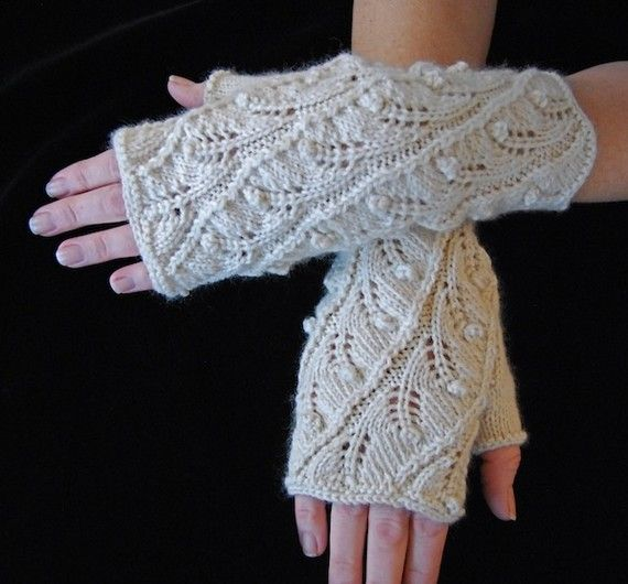 Knitting Pattern PDF Fingerless Gloves Fern Spiral by lynnevogel,