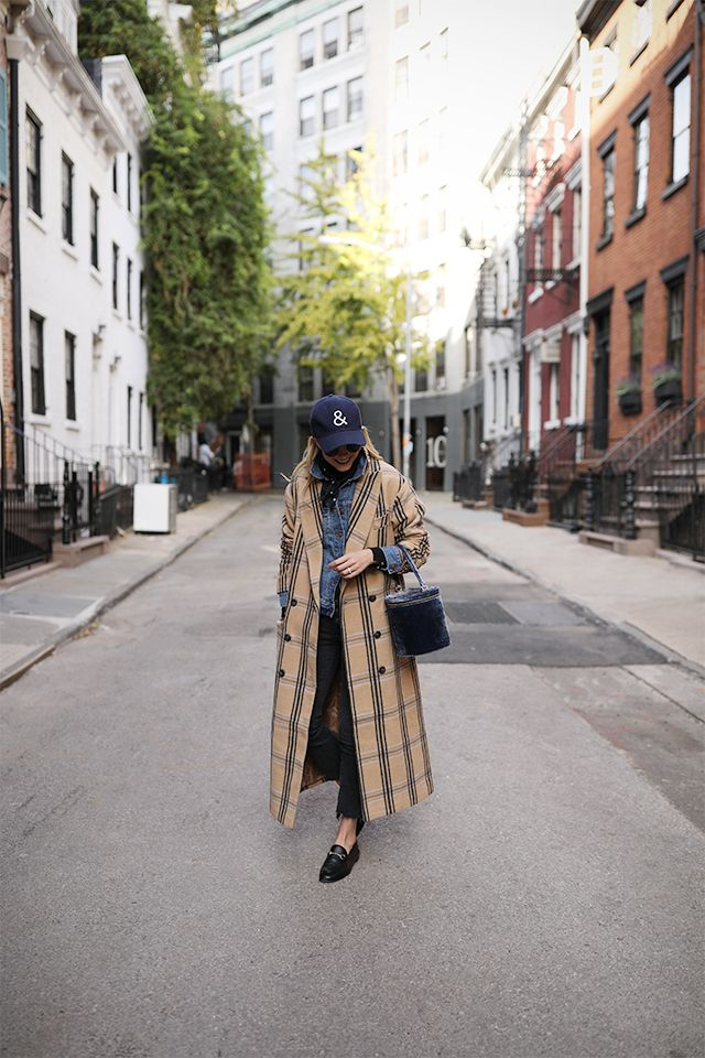 Click through for full Outfit details! Plaid coat + Denim jacket = Fall cozy  #plaidcoat #denimjacket #gucciloafers
