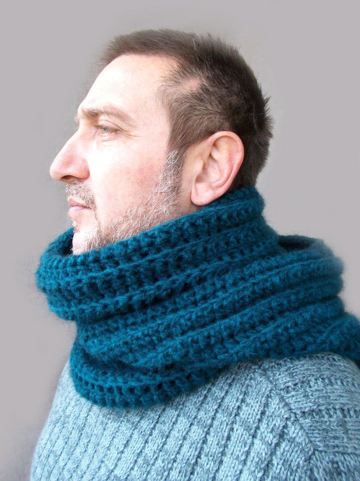 Cerceta azul con bufanda/capucha bufanda/ganchillo