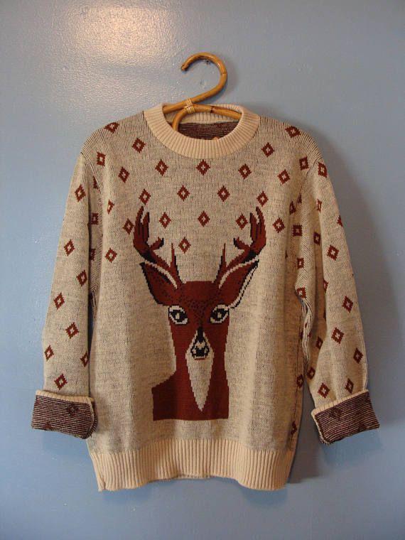 Vintage Wool Sweater 70's Tundra Fair Isle Ski Sweater Warm Cozy Rustic Scandinavian Boho Classic Zip Front Size Medium 1970's Pockets 3GIu7ZKrB