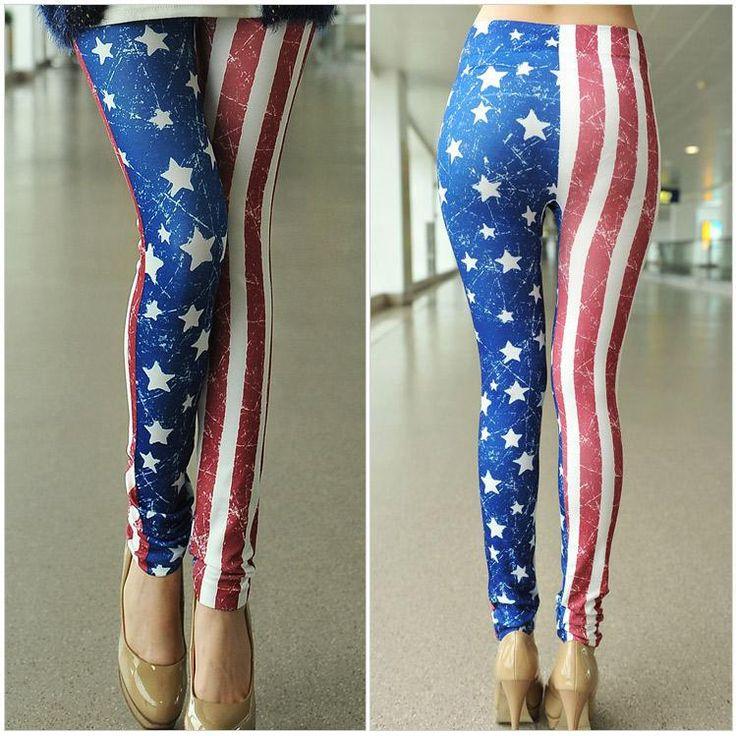 Casual Style Star Print Stripe Color Block Skinny Leggings For Women