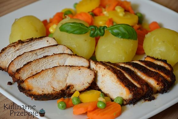 Dietetyczny obiad, czyli pieczona pierś kurczaka z warzywami