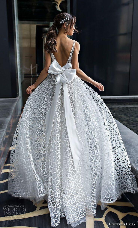 "dimitrius dalia 2018 royal sleeveless with strap deep v neck full embellishment sexy romantic a line wedding dress v ribbon back sweep train (4) bv -- Dimitrius Dalia ""Royal"" Wedding Dresses | Wedding Inspirasi #wedding #weddings #bridal #weddingdress #bride ~"