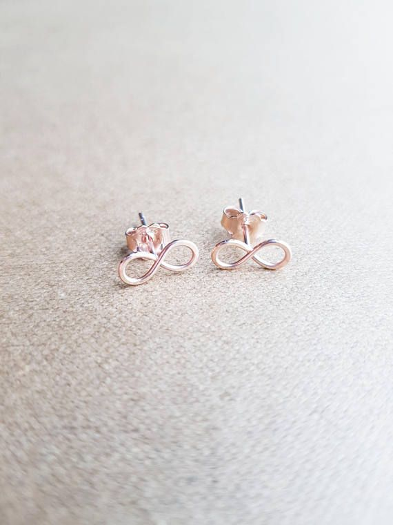 22K Rose Gold Infinity Earrings Tiny infinity Rose Gold Stud