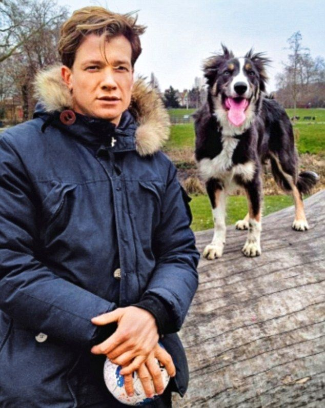 Frank, a bouncy young Border collie, has been causing mayhem behind the scenes for his master, Ed Speleers