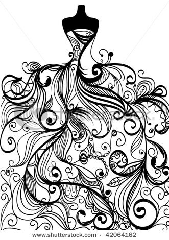dress doodle...would make an interesting tattoo for someone. For a Fashionista!