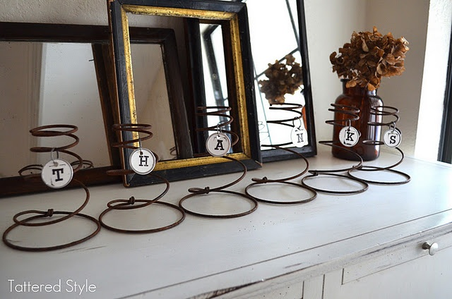 Here's an easy way to repurpose old bedsprings. :) (I was thinking they would also make cool candle holders!)