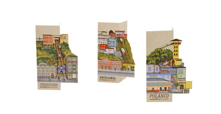 "Arte e Arquitetura: ""Minha Cidade de Papel"", atrativos patrimoniais ao estilo pop-up,Colección Patrimonial Ascensores de Valparaíso. Image Courtesy of Mi Ciudad de Papel"
