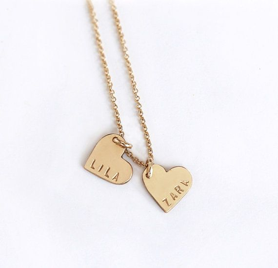 Personalized double heart necklace - Two hearts necklace - Personalized heart charm - 14k gold filled - Custom stamped