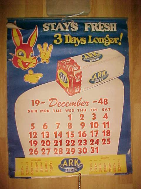 Vintage Ark Bread 1948 1949 Advertising Wall Calendar Freshie Bunny Rabbit