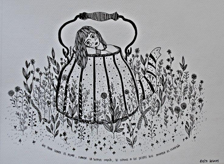 Que pena siente el alma cuando la suerte impía, se opone a los deseos que anhela el corazón.  Violeta Parra.   #ilustracion #ilustration #color #art
