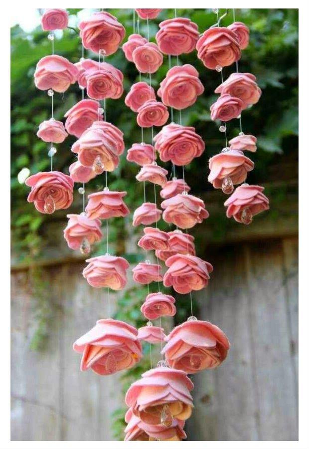 Como fazer um móbile de rosas de feltro ~ VillarteDesign Artesanato