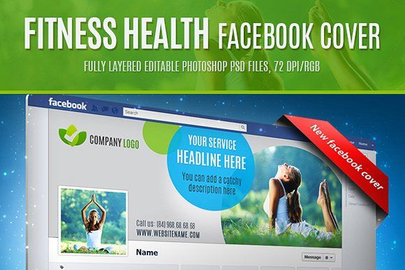 Fitness health facebook cover by EngoCreative.com on @creativemarket