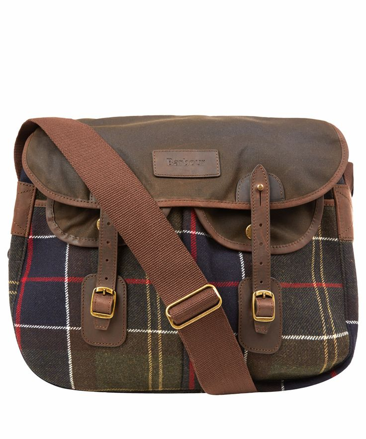 Barbour's classic shoulder bag constructed from a classic green tartan, with premium brown leather detailing. Ideal for every day use, with multiple pockets and compartments. #LibertyChristmas #GiftsForHim