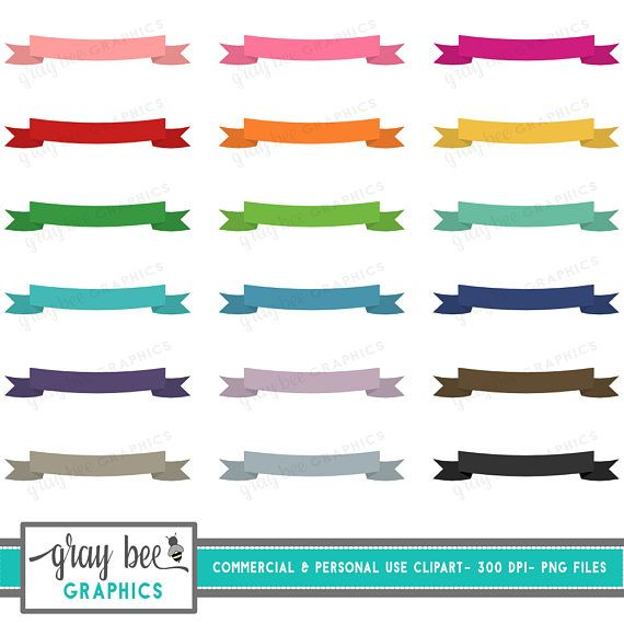 Banner Ribbon Clipart Set Commercial Use.  Great for printables, cards, stickers, and much more!