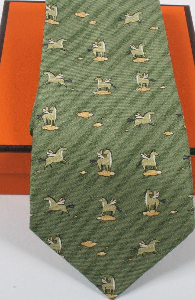 a6c95d1fe56a Hermes Green Yellow PEGASUS Silk Neck Tie 7859 UA Men's Luxury Necktie  Hermès
