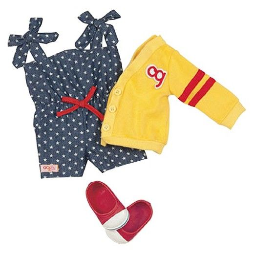 This Retro Hip to Be Square outfit is designed for 18-inch Our Generation dolls. Playful and sporty, it features a blue and white polka-dot playsuit and a yellow letterman cardigan. Red and white sneakers add the perfect finishing touch. Ten cents of every Our Generation purchase goes towards Free the Children's Power of a Girl initiative.