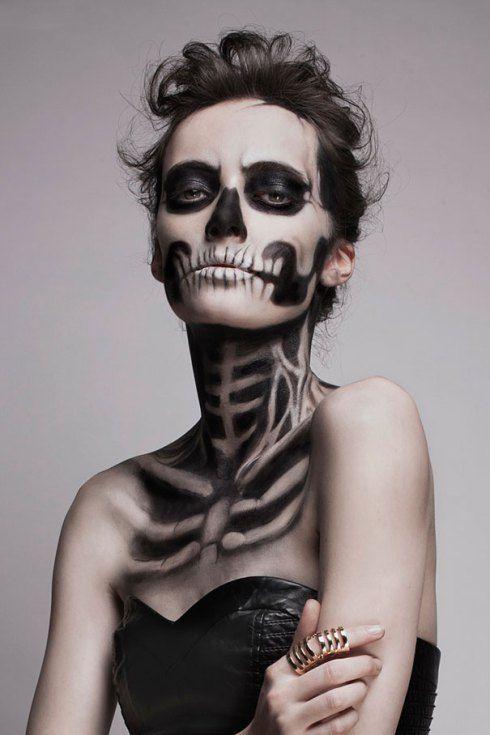Halloween Costume Make-up & Face Painting Ideas.  Skeleton Make-up Mademoisele