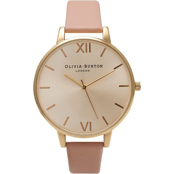 Olivia Burton Big Dial Watch - Gold & Dusty Pink (£80) ❤ liked on Polyvore featuring jewelry, watches, accessories, bracelets, montres, pink wrist watch, gold strap watches, pink jewelry, yellow gold watches and leather-strap watches