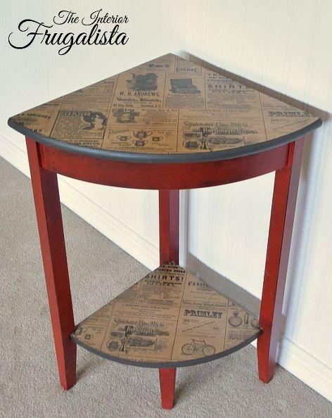 Compras r stica mesa de bolsa de esquina decoupage for Mesas para esquinas