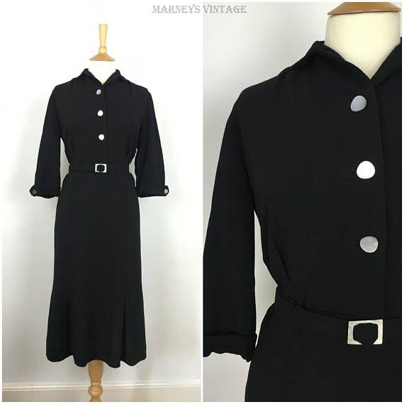 Vintage 1940s Dress  40s Black Wool Crepe Tea Dress