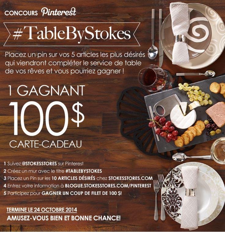 ENTREZ ICI : http://blogue.stokesstores.com/pinterest.html #tablebystokes