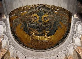 """Germigny-des-Pres Oratory: Gothic Byzantine styled Mosaic of the Ark of the Covenant, 806. """"The subject seems drawn from illuminated Jewish bibles, and relates to the Libri Carolini, possibly written by Theodulf, where the Ark is cited as divine approval of sacred images."""""""