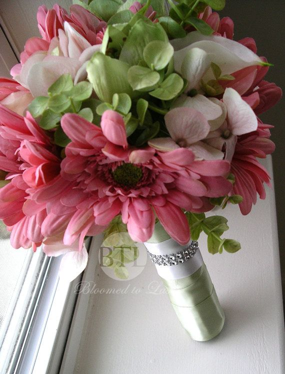 Mint, Pink, White Silk Gerbera Daisy Real Touch Calla Lily Wedding Bouquet for Spring, Summer, Garden, Romantic, Vintage Wedding. $210.00, via Etsy.