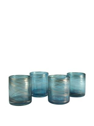 Artland Set of 4 Shimmer 16-Oz. Double Old-Fashioned Glasses (Turquoise)