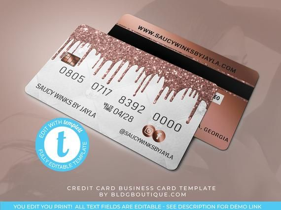 Credit Card Business Card Template Hair Extensions Business Etsy Nail Tech Business Cards Business Card Template Business Credit Cards