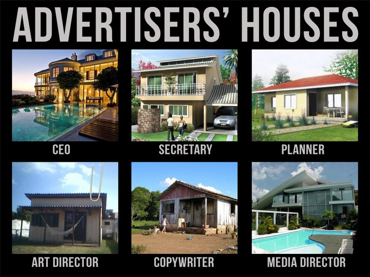 Advertisers' houses.