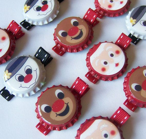 Christmas and Winter Bottle Cap Hair Clips No tut just idea