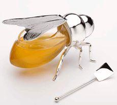 Honey Jar http://archive.blisstree.com/eat/silver-honey-bee/ #honey #jar