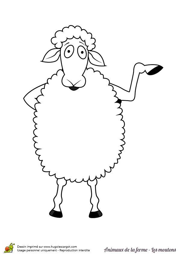 A colorier un mouton qui se tient debout coloriages - Mouton en dessin ...