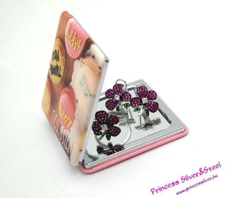 Elegáns, rózsaszín virágos ezüst-ékszer szett, cirkónia kristályokkal.  www.princessilver.hu