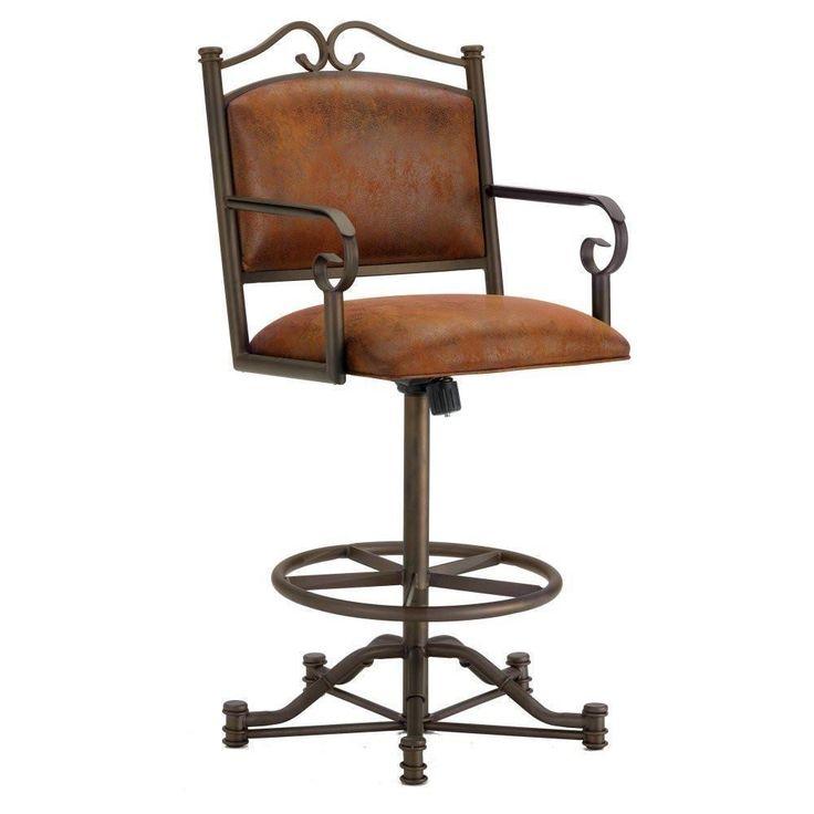 "Iron Mountain 3205326 Sherwood Tilt Swivel Counter Stool 26"" Seat Height w/ Mayflower Cocoa Fabric - Inca/Bronze"